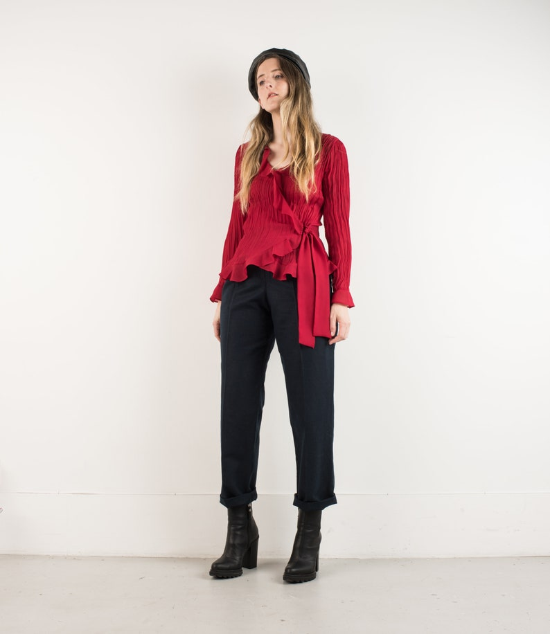 VINTAGE RED CRINKLE Ruffle Poet Wrap Blouse  S  90s hipster shirt romantic chiffon shirt