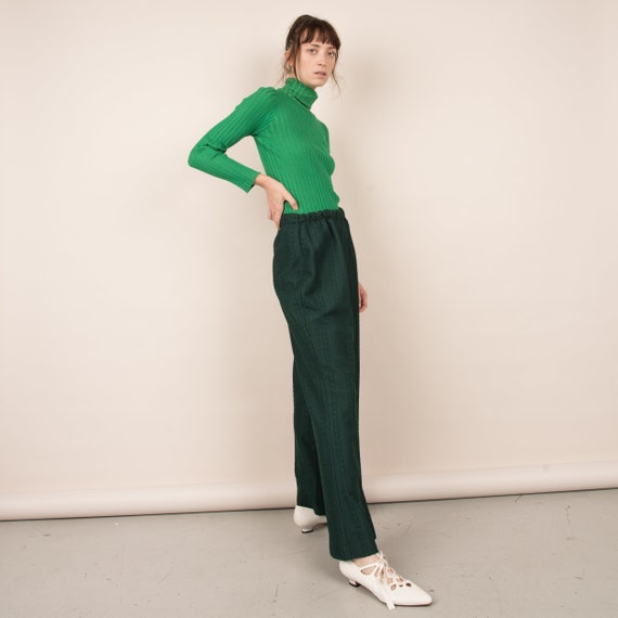Vintage Forest Green Cable Knit Easy Pants  / M/L - image 3