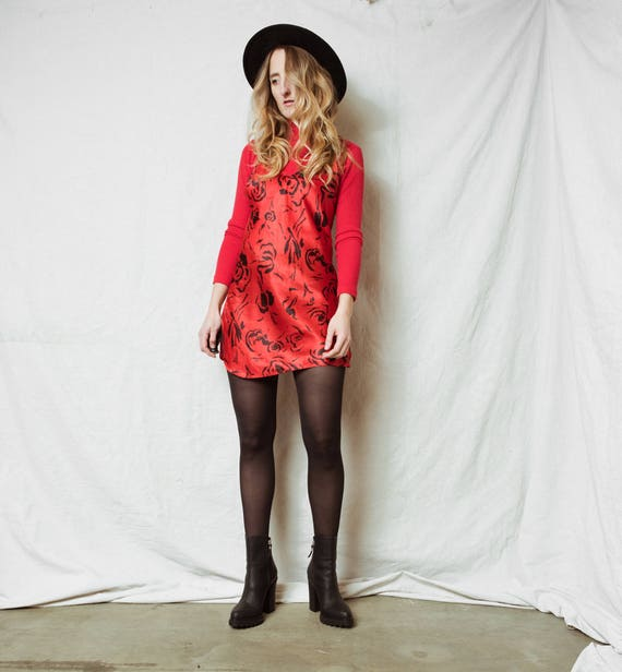 Rad Rose Slip Dress / Xs S / 90s Grunge Hipster Summer Layering Flower Mini Dress Boho Festival Coachella Floral Red Black by Etsy