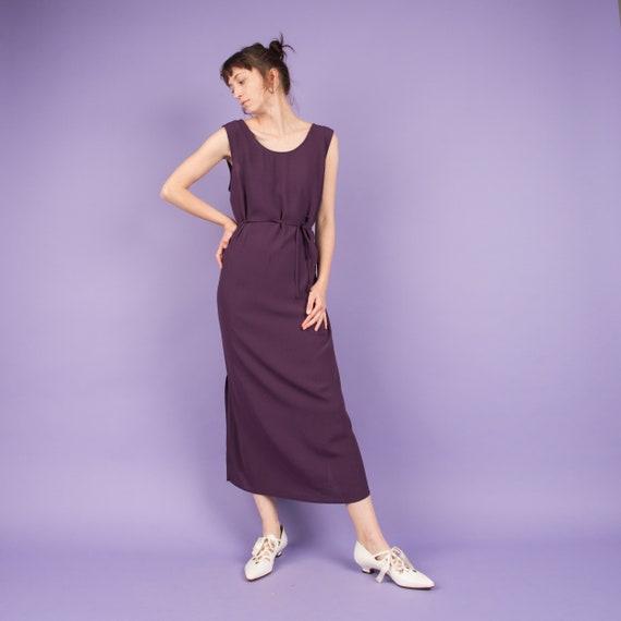 Vintage Lilac Crinkle Maxi Dress  / S