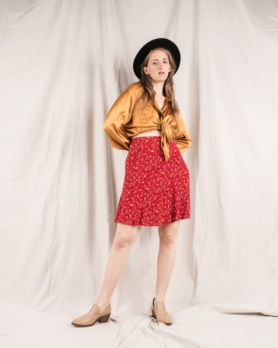 Vintage 1940s cherry skirt novelty print red fruit white floral cotton green leaves girls knee-length high waist 6