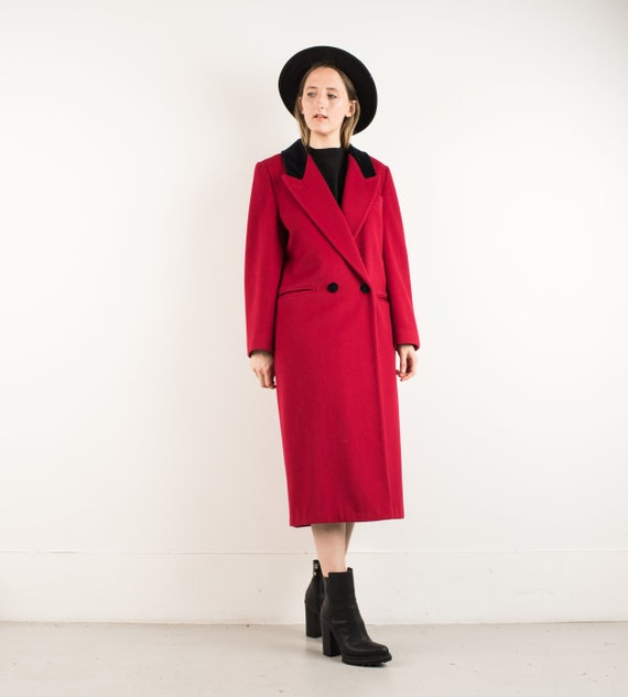 VINTAGE RED OVERSIZED Wool Coat / S M / hipster ja