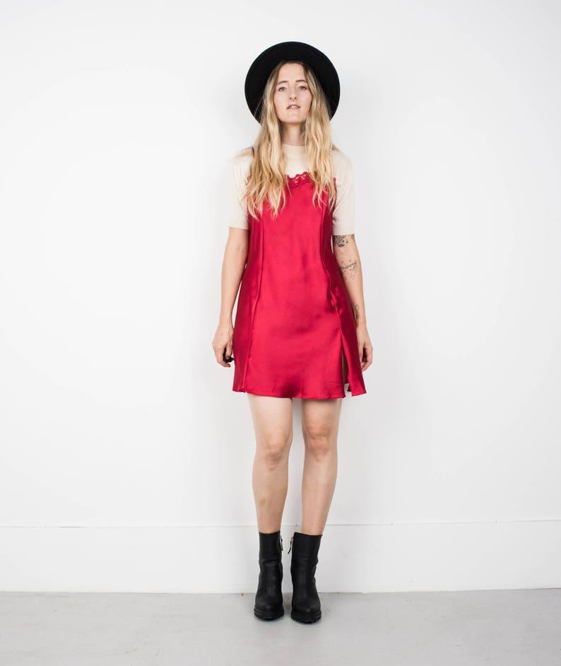 00d5f89cbeea9 AMAZING Vintage Burgundy Lace Slip Dress / S / 90s grunge hipster mini  dress boho dress summer dress red pink