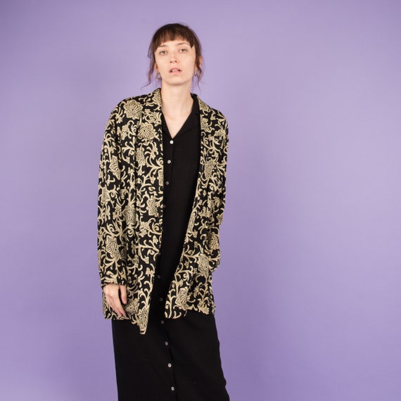 Vintage Black + Beige Floral Oversized Silk Blazer