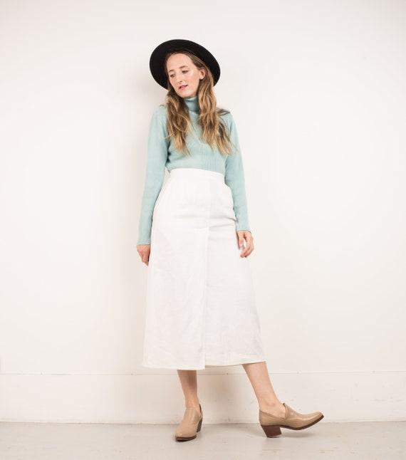 e670d7872 VINTAGE WHITE LINEN Faux Wrap Skirt / S / 90s hipster boho | Etsy