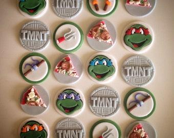 12 x TMNT Edible Fondant Cupcake Toppers - Teenage Mutant Ninja Turtles