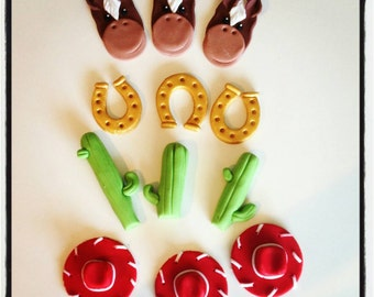 12 x western cowboy themed cupcake toppers -cowgirl cowboy birthday party