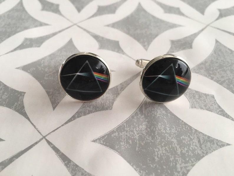 Pink Floyd Music Fan Men Gift Round Glass Cufflink Pair