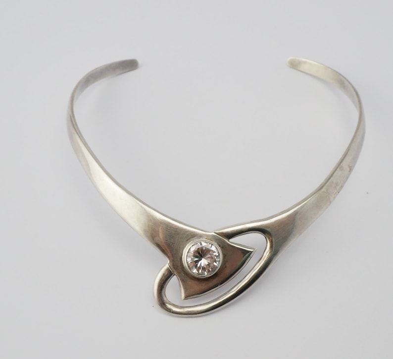 Large Solid vintage Modern Modernist abstract sterling silver round crystal open cuff collar statement necklace Mexico