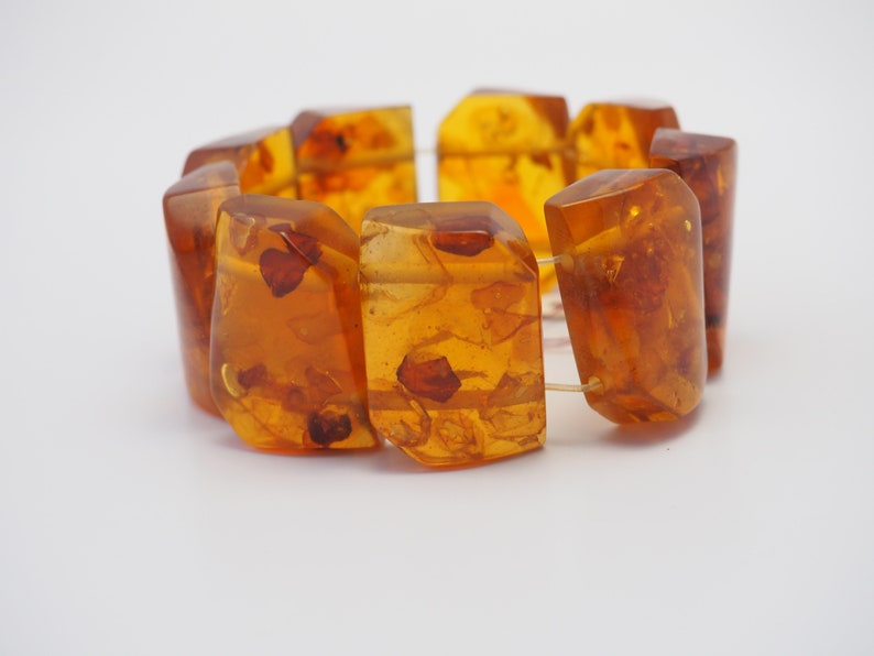 Amazing vintage handmade genuine honey cognac Baltic Amber panel stretchy bracelet