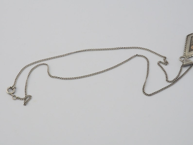 Vintage handmade ethnic sterling silver hammered 14k gold fire bird chain necklace pendant