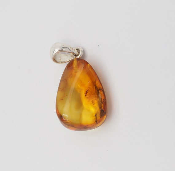 Natural Baltic Amber with inclusion fossil insect mosquito gnat bug sterling silver bail pendant