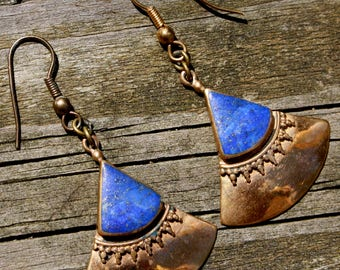 70's, Blue, Lapis Lazuli, Brass, Earrings, Gypsy, Teardrop, Healing, Gemstone, Jewelry, Lapis, Lapiz Lazuli, Tribal, Bohemian, Boho, Vintage