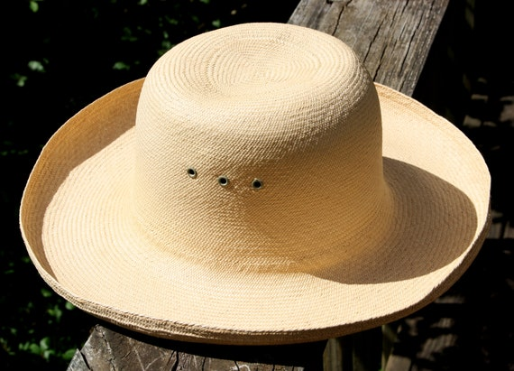 Vintage Woven Natural Raffia Sun Hat Handmade Summ
