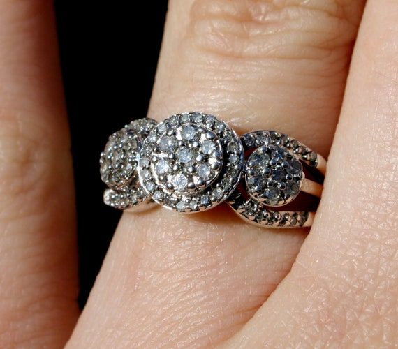 925, Diamond, Engagement, Ring, Sterling, Silver, Marked, Jewelry, SUN,  Circle, Halo, Three Stone, Anniversary, Gift, Classic, Wedding, 6 5