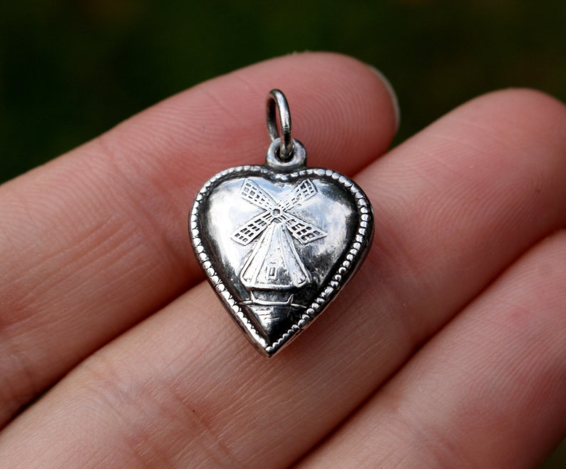 553ed0c3ce1e8 925 Heart Puff Pendant Windmill Puffy Sterling Silver Charm Netherlands  Love Bubble Necklace Jewelry Cute Antique Dutch Vintage Gift Holland