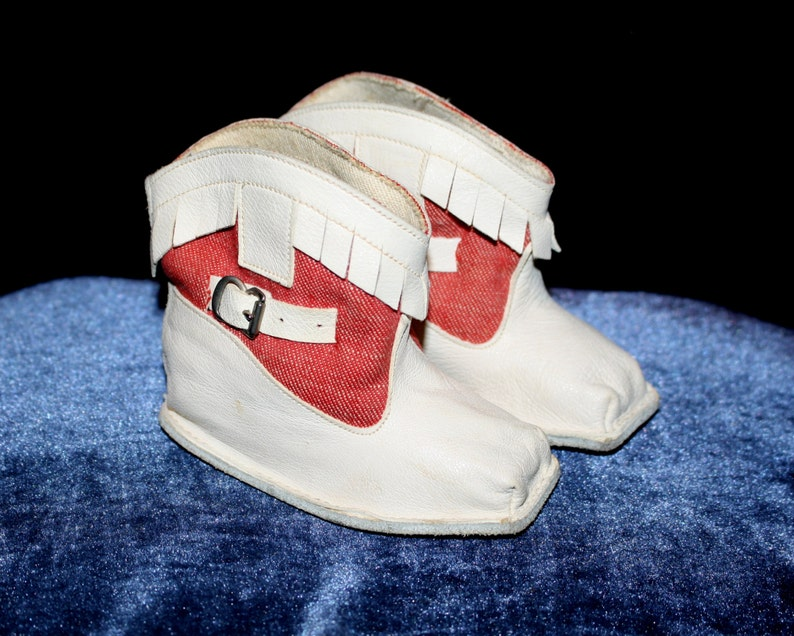 b8baf4e586d9b Infant Cowboy Boots Red & White Suede Leather Fringe Baby Booties Western  Shoes Cowgirl Boots Baby Shower Gift Vintage Size 1 By Gertrude's