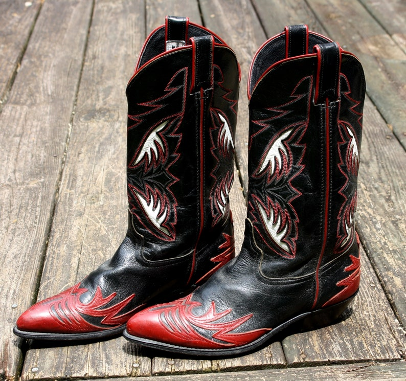 406e7e35e80af Black & Red Leather Cowboy Boots Vintage Classic Women Pheonix Western  Ladies Shoes Cowgirl Cowboy Boho Southwestern Size 8.5 By Code West