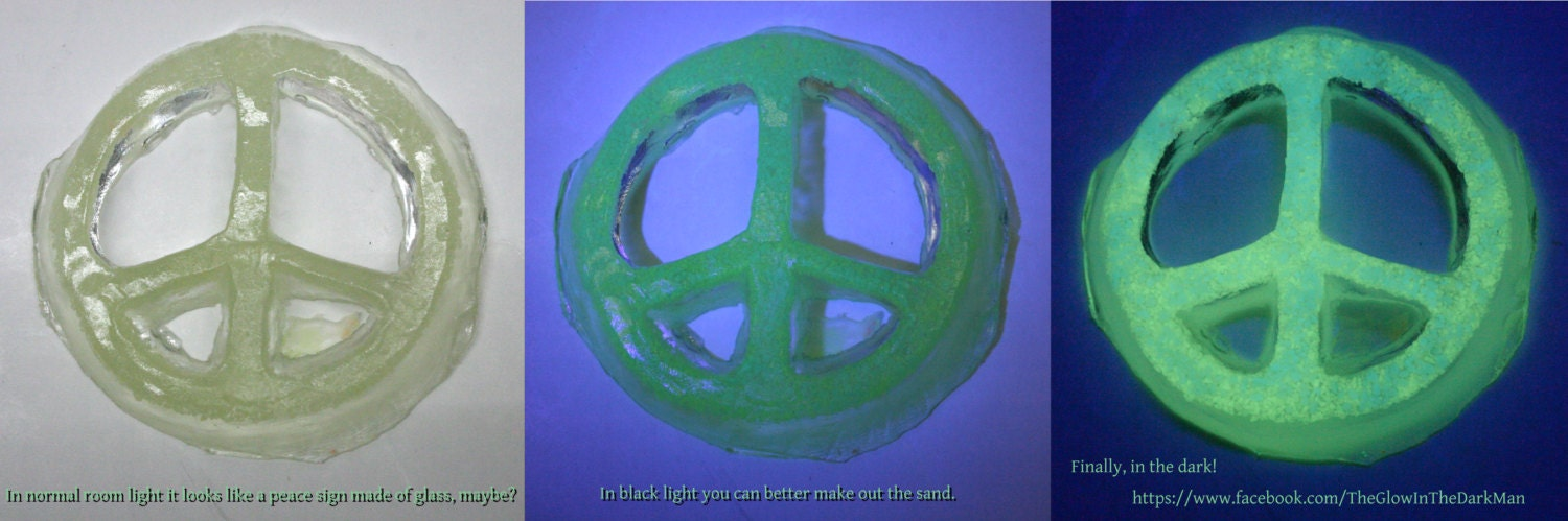 Glow In The Dark Peace Sign Made Of Resin And Glow In The Dark Etsy
