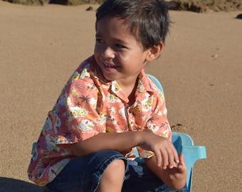Boys Aloha Shirt in a mango island print, Made on Kauai, Hawaii