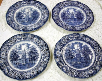 Four Liberty Blue Dinner Plates : liberty blue dinnerware - pezcame.com