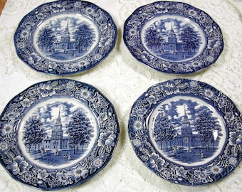 Four Liberty Blue Dinner Plates & Liberty blue | Etsy