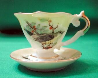 Vintage Miniature Cup and Saucer, Little Bird