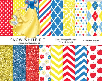 Snow White Digital Papers Scrapbook Kit 12 x 12 inches yellow blue red gold invitation DIY printables