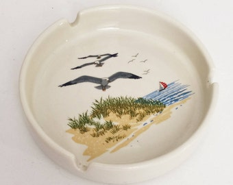 Vintage Ashtray with ocean, beach, and seagull scene