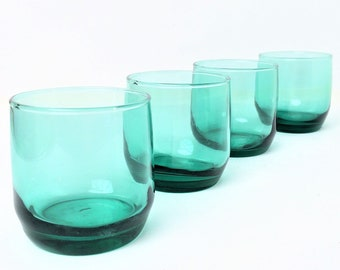Whiskey glasses, roly poly, rock glasses, teal green, anchor hocking