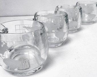 Globe Mugs, 4 Nestle Crystal Globe Mugs