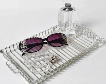 Vintage Art Deco Vanity Tray, Glass Vanity organizer, Art Deco, Jewelry Organizer, Crystal clear glass