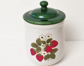Mc Coy Strawberry ceramic Canister, kitchen storage canister, vintage 1980s