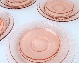 Rosaline Pink Swirl Dinner Glass 12 piece set Arcoroc France Dinnerware set & Pink dinnerware   Etsy