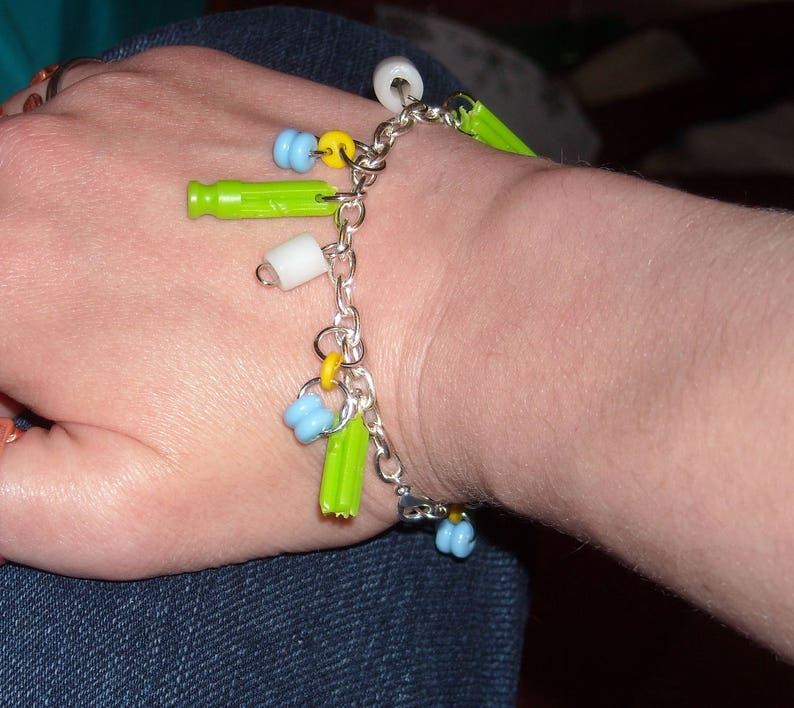 Yellow bead Broken Kinex Charm Bracelet button Silver White Green Blue gift for her broken beauty silver charm bracelet