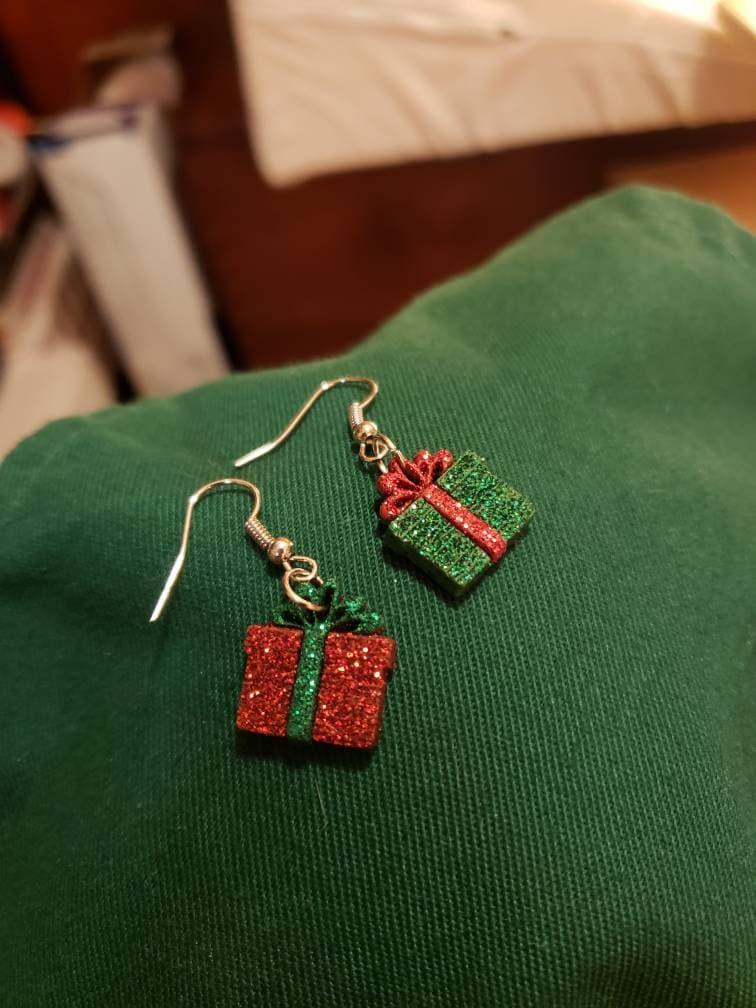 Double Glittery Red Green Dot Christmas Earrings