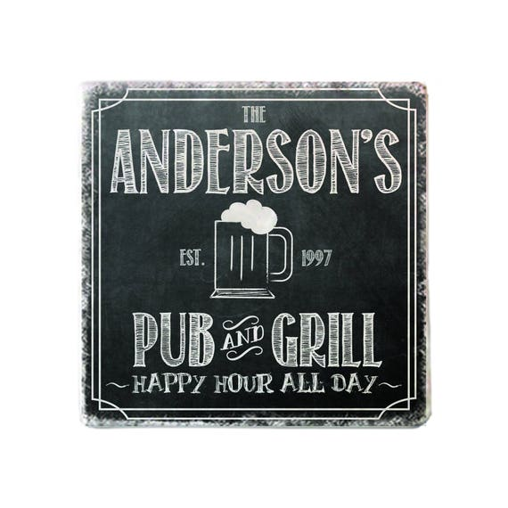 Personalized Custom Pub Chalkboard Style Marble Coasters Etsy