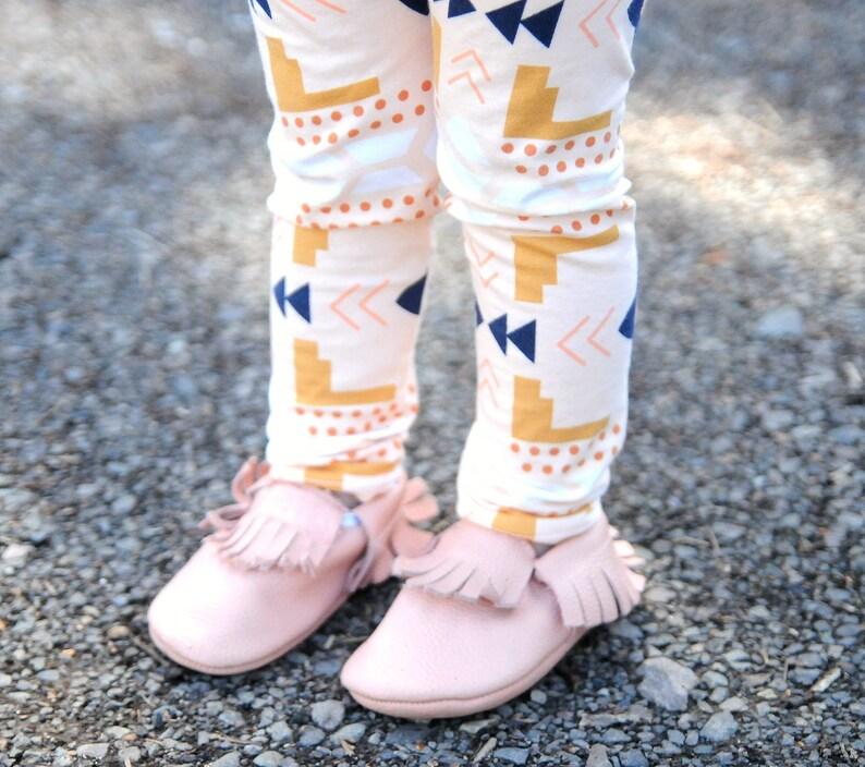 d83944394df23 Pêche Leggings Aztèques tenue de bébé coton tricot