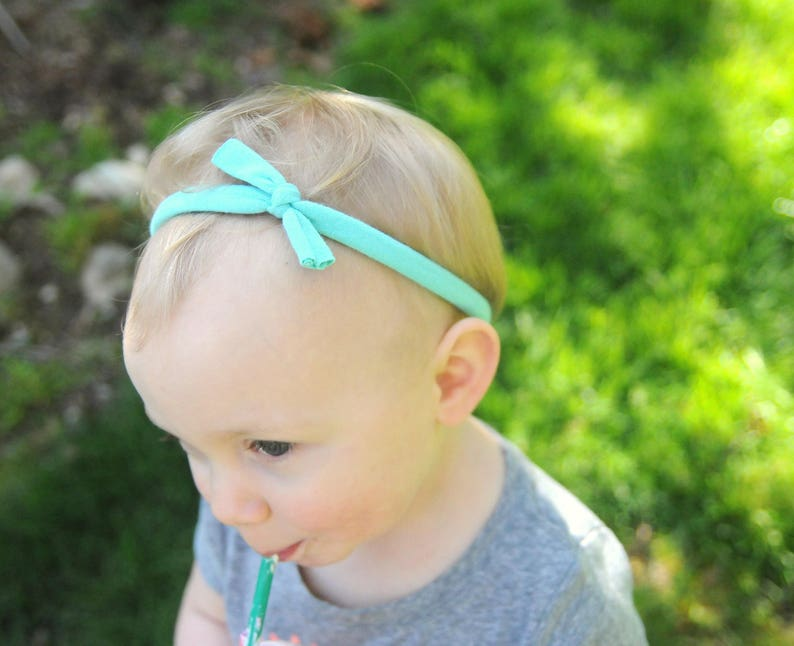 Skinny Headband Knotted Headband Toddler Baby Shower Gift Baby Headband Pink Top-Knot Headband Set of Two Headbands Baby Outfit