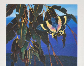 Tropical Foliage and Zodiac Moth by David H. Stacey Diptych Print