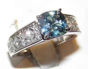 Art Deco Cushion Teal Sapphire (N)* Diamond Ring 14KWG 2.10 ctw