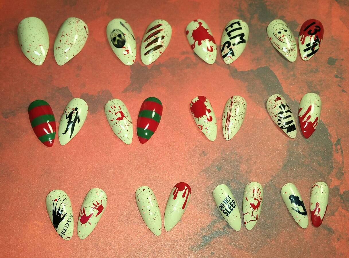 Freddy vs Jason Press on Nails | Freddy Krueger | Halloween Nails ...