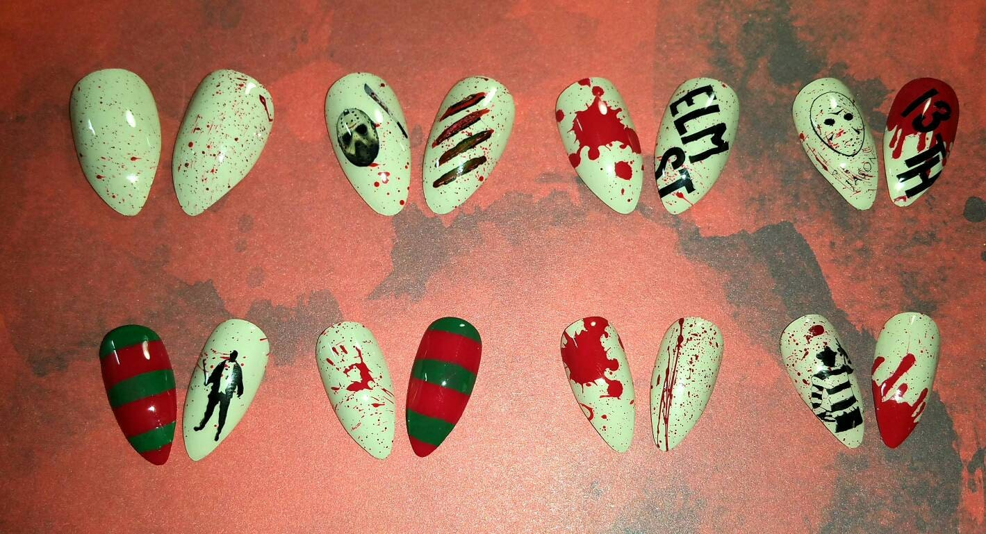 Freddy vs Jason Press on Nails | Freddy Krueger | Halloween Nails ...