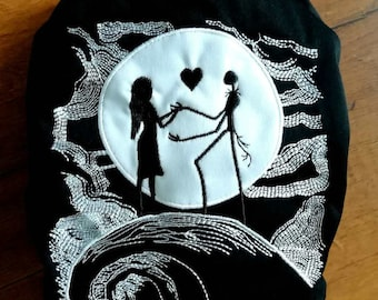 Nightmare before Christmas Skeleton Jack and Sally inpired  Embroidery All In One One Size Cloth Diaper