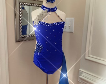 05544021e One Piece Custom Lyrical Dance Costume ROYAL BLUE with Leotard and  Appliques Crystal
