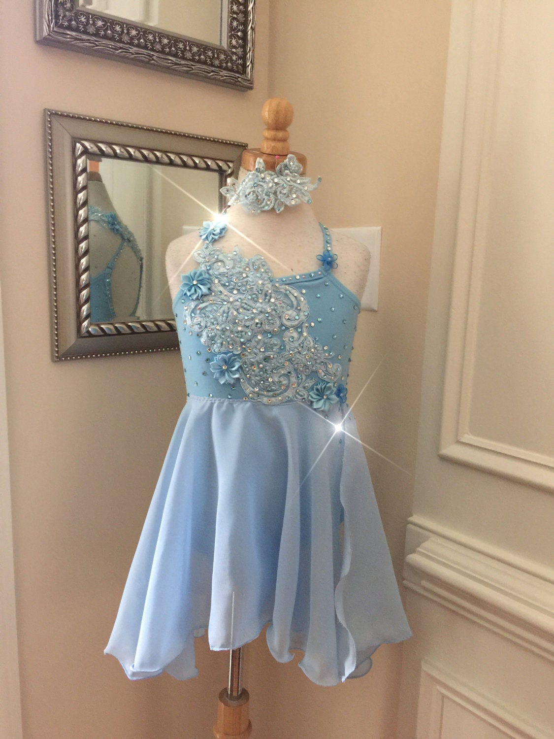 Custom Lyrical Dance Costume For Competition Baby Blue