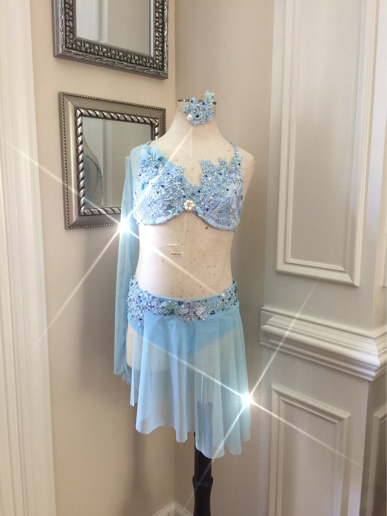 62012ba9349a 2 Piece Custom Lyrical Dance CostumeLight Blue with lace and | Etsy