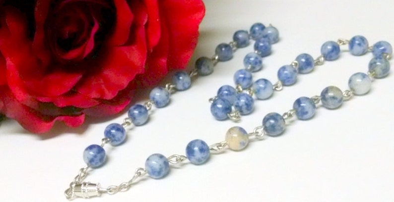 Beaded Necklace Handmade Gift Blue Necklace Gift for Her Beaded Jewelry African Blue Sodalite Beads Blue Sodalite Sodalite Necklace