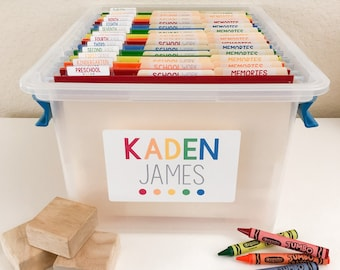 Colorful School Work and Memory Filing System. Organization Labels & Water resistant Custom Name Label Stickers. Set of 61!