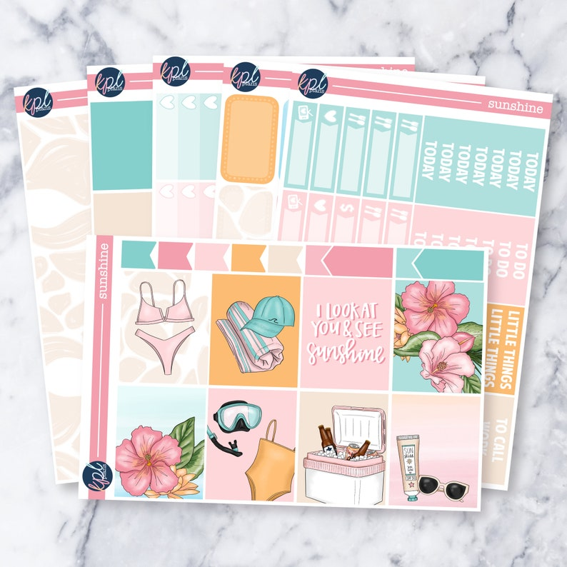 Perfect for Erin Condren Life Planners! Sunshine Weekly Planner Sticker Kit
